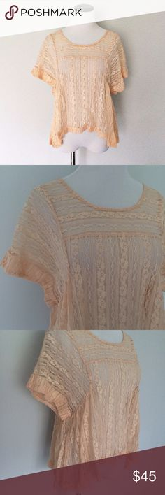 FREE PEOPLE Peach lace Boxy Top Beautiful Top and only worn once! Peach colored Lace body top. Can be worn off one shoulder if you chose. Size XS, but since it's Boxy can fit up to a size medium. Free People Tops