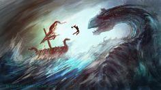 ArtStation - Heroes of Legend, Stuart Harrington Viking Ship, Art Station, Sea Monsters, Norse Mythology, Vikings, Artwork, Painting, The Vikings, Work Of Art