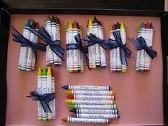 Crayons to set on the table at weddings for children in attendance.  They can entertain themselves.  Cute idea.