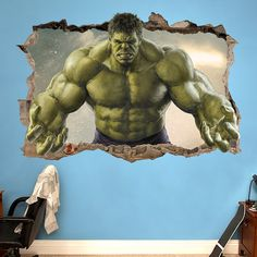 HULK SMASHED - 3D WALL STICKER CHOOSE DESIRED SIZE - You may choose between 3 different sizes: 1. Small: 60cm x 40cm ⇔ 23.62 X 15.75 2. Large: 90cm x 60cm ⇔ 35.43 X 23.62 3. Huge: 120cm x 80cm ⇔ 47.25 X 31.50 ========================================= Easy to install - Just