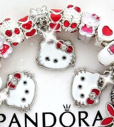 Authentic PANDORA Silver Charm Bracelet w/European Charms Red Hello Kitty New