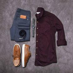 Outfit grid - Burgundy shirt & grey jeans