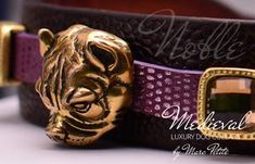 Noble - Medieval Dog Collar - by Marc Petite Dog Perfume, Perfume Testers, Unique Dog Collars, Designer Dog Collars, The Violet, Amber Crystal, Brown Texture, Limited Collection, Amber Stone