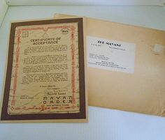 Sold herters world famous 377 numara goose call 1955 sold certificate of acceptance into the mayan order issued to helen crouch of concord california in the mailed from san antonio texas yadclub Gallery