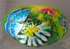 BUTTERFLY GARDEN hand painted art rock