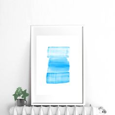 Light blue Abstract digital watercolor print large by DYAStudio