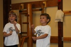 Kung Fu kids - Two of my youngest kung fu students Addie and Reef. In this picture, they are practicing Wing Chun chain punches (aka straight blasts).