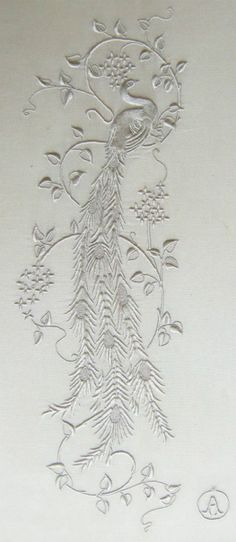I love peacocks so much, and white on white embroidery best. Gorgeous white on white hand embroidery Japanese Embroidery, White Embroidery, Ribbon Embroidery, Beaded Embroidery, Embroidery Stitches, Embroidery Patterns, Machine Embroidery, Art Du Fil, Peacock Art