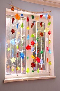 Einfache, süsse Bastelideen für den Herbst Fensterbilder basteln mit kindern alternativ