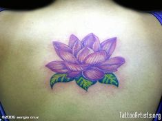 Superb Purple Lotus Tattoo On Back