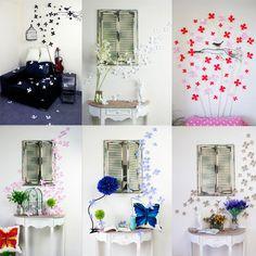 12 pcs 3D Sticker autocollants beauté fleur Décoration de la chambre Chaud!