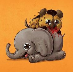 Artist Alex Solis is to blame for this seriously disturbing series of illustrations called 'Adorable Circle of Life.' On the one hand they're a jarring reminder of the brutal & unforgiving realities of the animal kingdom. On the other hand they're cutie! Creepy Animals, Cute Animals, Creative Illustration, Cute Illustration, Predator, Prints Whatsapp, Kawaii, Alex Solis, Lapin Art