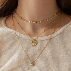 This item is unavailable This item is unavailable Gold Medallion Layered Necklace, Angel Coin Necklace, Gold Layering necklace, Wax Sealing Disc Neckl Dainty Jewelry, Cute Jewelry, Jewelry Accessories, Jewelry Necklaces, Women Jewelry, Jewelry Design, Gold Jewellery, Septum Jewelry, Jewelry Tags