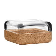Vitriini box 108 x 108 mm, clear/cork, by Iittala.