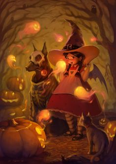 We'd love to hang out with these Spirits of #Halloween - super #cute #art by Svetlana Tigai
