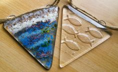 Sea and surf fused glass, fused glass bunting, beautiful glass bunting home decor, suncatcher sea bunting, garden ornament or window. by WhimsicalFusing on Etsy