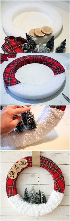 """Instead of """"Let It Snow"""", I believe I'd use the plaid all the way around the wreath form!"""