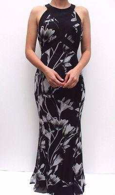 Karen Millen Black Floral Chiffon Evening Party Maxi Dress 10 38 New #KarenMillen #MaxiDress #Party