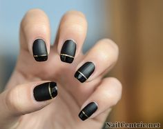 Black matte base with shiny tip and gold line