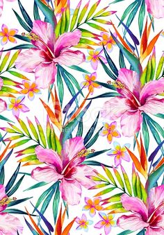colorful tropical seamless pattern, with hibiscus, frangipani, bird of paradise, palm leaves. Botanical illustrations, hawaiian shirt style, design for fashion or interior.