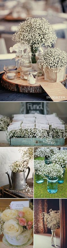 Romantic Rustic Chic Wedding Ideas.  Pinned by Afloral.com from http://delightfulfindsandme.com/wedding-wednesday-gypsophilia/ ~Afloral.com has high-quality faux and preserved gypsophilia, as well as vintage containers and decorations.