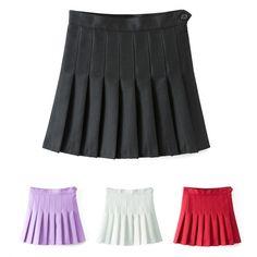 Sexy Women High Waist A-Line Pleated Skirt Tennis Solid Mini Skirt_Skirts_Women_Women's Fashion Zone & Best Price Clothes