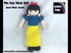 Rainbow Loom 3D Loomigurumi Izzy Bizzy Doll Snow White Dress - crochet hook only - YouTube