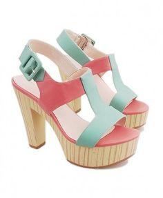 Green PU Leather Peep Toe Sandals