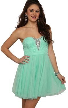 Glitter Strapless Short Prom Dress with Stone and Ballerina Skirt