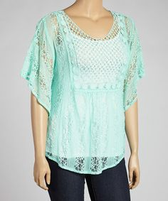 Look at this #zulilyfind! Mint Sheer Lace Stripe Cape-Sleeve Top - Plus by Wrapper #zulilyfinds