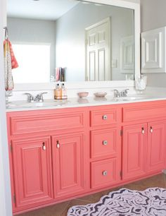 #coral #red Color Malibu. Ron de coco Malibu. Coral vanity! Omg I love love love this :)