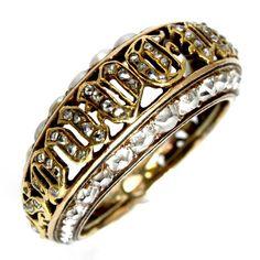 Rare Victorian Pearl Diamond Souvenir Ambigram Ring 1