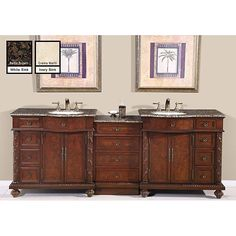 Picture Collection Website Silkroad Exclusive English Chestnut Brown inch Stone Top Double Sink Bathroom Vanity Crema Marfil Marble Top