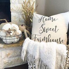 Farmhouse Pillow. Farmhouse pillow is by sovintagechic on instagram. Farmhouse Fall Decor. farmhouse-pillow-pillow-is-by-sovintagechic thedowntownaly via Instagram.