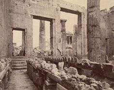 Erechtheum, Propylaea, showing steps and temple of Athena Apteros - A. D. White Architectural Photographs, Cornell University Library, #solebike, #Athens, #e-bike tours