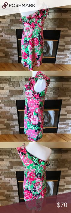 """Lilly Pulitzer Whinnie Dress Gorgeous printed dress from Lilly Pulitzer.  One shoulder dress with cascading ruffles on shoulder. Approx. 35"""" from high shoulder to hem. Silk Cotton Jersey.  So cute and comfortable on.  Has very slight piling, please see pictures. Lilly Pulitzer Dresses"""