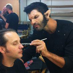 Tyler Hoechlin..Teen Wolf - Werewolf Derek helping out in make-up.