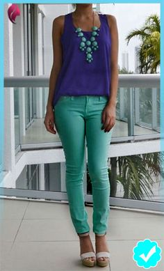 Take a look at 35 best outfits with mint jeans to get ideas from in the photos below and get inspiration for your own amazing outfits! lots of different ways to wear mint jeans in the winter Image source Lila Outfits, Purple Outfits, Spring Outfits, Trendy Outfits, Cool Outfits, Fashion Outfits, Womens Fashion, Royal Blue Outfits, Amazing Outfits