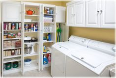 Laundry with cleaning supplies and kitchen items needed extra space.  Description from elaundryroomcabinets.blogspot.com.