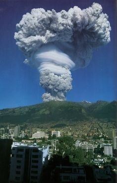 Looks like the eruption from Quito, Ecuador ??  Does anyone know if it is?  I saw this one first hand from a town about an hour from here. Looked just like this. Impressive!