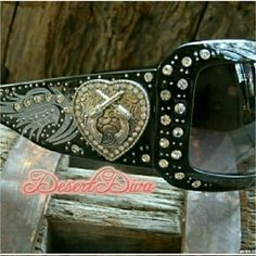 Bling Heart Pistols Sunglasses Crystal accented Silver tone heart with crossed pistols .  Black Western, Cowgirl Accessories Sunglasses