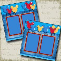Magical Balloons - Disney - 2 Premade Scrapbook Pages - EZ Layout 2955 scrapbook disney Ideas Scrapbook, Paper Bag Scrapbook, Vacation Scrapbook, Disney Scrapbook Pages, Scrapbook Titles, Scrapbook Page Layouts, Baby Scrapbook, Scrapbook Supplies, Scrapbooking Ideas