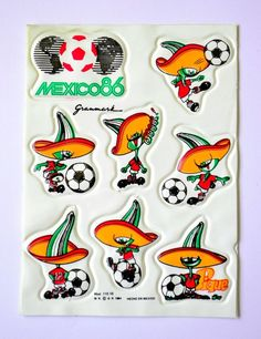 """Ultra rare mexico 86 world cup stickers """"pique"""" official mascot - mint"""