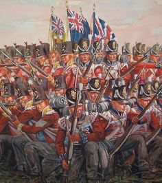 British infantry square at Waterloo, by Giuseppe Rava. As can be seen by the two regimental colours and the blue facings on the right and yellow facings on the left (as well as the different shako. Waterloo 1815, Battle Of Waterloo, Military Art, Military History, Army Infantry, Military Pictures, Military Modelling, Historical Art, Napoleonic Wars