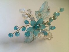 Wire wrapped jewelry handmade hair pin - amazing headpiece combined with glass beads and opalite stones.