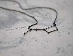Delicate necklace with Ursa Major constellation in grey/black oxidized silver. Dimensions: the Ursa Major constellation measures 4 cm in length. The