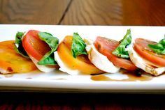 Caprese Salad with Heirloom Tomatos and Garlic Balsamic Vinaigrette...YUM!