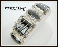 Sterling Onyx Bracelet  Mexico 925  Wide Links by VintagObsessions