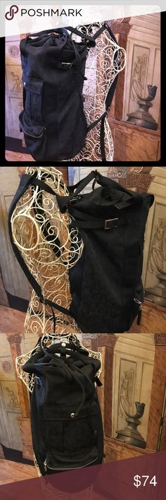 """🎉24"""" GYM OVERNIGHT TRAVEL SCHOOL BACKPACK 🎉 24""""L x 10""""W x 17""""D...GREAT   CONDITION BLACK DKNY SIGNATURE FABRIC SHOULDER/BACKPACK FOR SCHOOL/GYM/TRAVEL...OUTSIDE HAS (2) DEEP POCKETS (ZIP UP & SNAP)...(2) ADJUSTABLE BACK & SIDE STRAPS (EXPANDS TO 17"""")...TOP HAS DRAWSTRING CLOSURE WITH (2) HANDLES TO WEAR OVER THE SHOULDER...INSIDE HAS A DEEP ZIP UP POCKET WITH PERFECT CONDITION LINING...FEEL FREE TO ASK ANY QUESTIONS   💕THANKS FOR VISITING 💕 Bags"""
