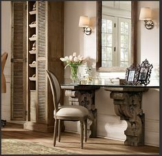 Glass Desk, Glass Vanity, Glass Shelves, Wood Glass, Glass Table, Restoration Hardware, Photo Restoration, Home Projects, Home Furnishings